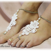 LACE LOVE Barefoot Sandals handmade lace applique pearls bridal beach weddings foot jewelry bridesmaids slave sandals Catherine Cole BF9