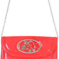 Patent Perch Purse in Coral - PLASTICLAND