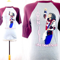 Vintage 80s JOAN JETT & The Blackhearts Rock N' Roll Tour Raglan Jersey 50/50 T Shirt Sz M