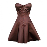 Brown Satin Flared Corset Dress