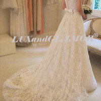 Wedding Dress,Lace Wedding Dress, Short Sleeve Bridal Dress