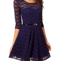 Ostart Sexy Lady Lace 3/4 Sleeve One-piece Dress