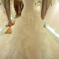 Hot Sale High Quality Beach Bridal Wedding Dresses Custom Made White Ivory