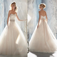 White/Ivory Bride Satin/Chiffon/Lace Wedding Dress Sweetheart Gown