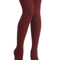 Truly Trustworthy Tights in Burgundy | Mod Retro Vintage Tights | ModCloth.com