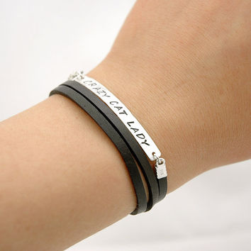 Brown Leather Wrap Bracelet - Hand Stamped Custom Words Bracelet - Hammered Sterling Silver Bar bracelet - Custom Name - Personalized Gifts