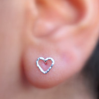 Heart Shape Stud Earrings Sterling Silver Handcrafted