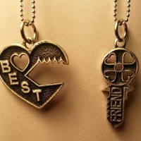 Key Puzzle Best Friend Necklace - 2 Piece Necklace BFF Split - Comes with the Chains