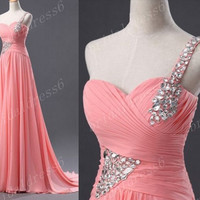 2014 Rose Red Beads Crystals Strapless One-Shoulder A-Line Long Ruffled Bridesmaid Dress,Court Train Chiffon Evening Prom Dress