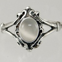 A Sweet Sterling Silver Victorian Ring Featuring a Lovely White Moonstone Gemstone Made in America