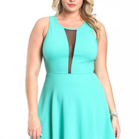 PLUS SIZE MESH SKATER DRESS