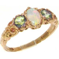 Ladies Solid 14K Yellow Gold Natural Opal & Peridot English Victorian Trilogy Ring - Finger Sizes 5 to 12 Available - Perfect Gift for Birthday, Christmas, Valentines Day, Mothers Day, Mom, Mother, Grandmother, Daughter, Graduation, Bridesmaid.