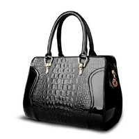 Premium Quality Elegant Black Embossed Croco Zipper Shoulder Bag Tote