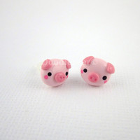 Pig Earrings - Pink - Kawaii Piggies - Cute Polymer Clay - Kawaii - Posts - Studs - Stainless Steel - Hypoallergenic
