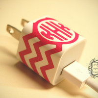 Iphone Charger Chevron Monogram Wrap Vinyl Decal