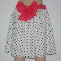Spots and Stripes White with Navy Polka Dot Skirt by bamboogees