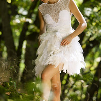 Short white tulle dress with lace-BridesmaiD