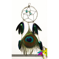 Peacock and Beetle Wing Dreamcatcher Necklace by NeonFoxBoutique