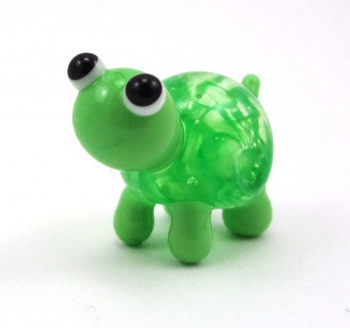 Green Filigrana Turtle Lampworked Glass Figurine Bead | MercurysGlass - Dolls & Miniatures on ArtFire