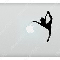 Ballerina Grabbing Leaf Apple Ballet Sports Dancing Dancer Mac Sticker Dance MacBook Decal
