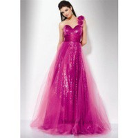 A-Line One-Shoulder Floor-Length Tulle Applique Prom Dress SAL1039