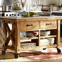 HAMILTON RECLAIMED WOOD MARBLE-TOP KITCHEN ISLAND - LARGE