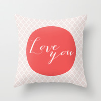 Love you - red Throw Pillow by Allyson Johnson