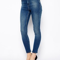 ASOS Supersoft High Waisted Ultra Skinny Ankle Grazer in Midwash Blue