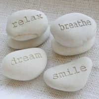 Custom Beach Pebbles - set of 2 personalized engraved beach stone