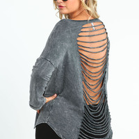 PLUS SIZE MOON PHASES SHREDDED TOP