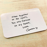 Custom hand stamped wallet card, credit card size, wallet insert card, For Him, Long distance love