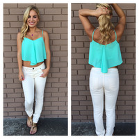 Mint Crop Tank Top