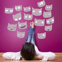 Cat Faces Wall Decals