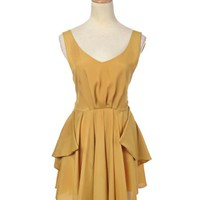 Anna-Kaci S/M Fit Golden Yellow Classic Romantic V-neck Semi Formal Dress