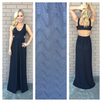 Black Zig Zag Texture Maxi Dress