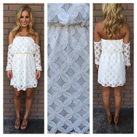 Ivory Khloe Off Shoulder Lace Dress