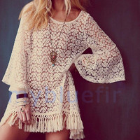 Hot Vintage Hippie Boho Bell Sleves Gypsy Festival Fringe Lace Mini Dress Tops V