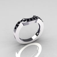 Classic 14K White Gold Black Diamond Magic Band Matching Solitaire Wedding Ring R301-M-14WGDBL
