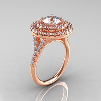 Classic Soleste 14K Rose Gold 1.0 Ct White Sapphire Diamond Ring R236-14RGDWS