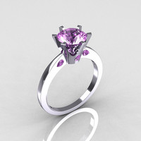 French 14K White Gold 1.5 Carat Lilac Amethyst Designer Solitaire Engagement Ring R151-14KWGLA