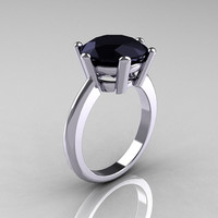 Classic Russian Bridal 10K White Gold 5.0 Carat Black Diamond Solitaire Ring RR133-10KWGBD
