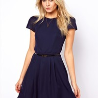 ASOS Skater Dress With Short Sleeves And Belt