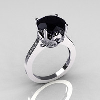 Classic 10K White Gold 3.0 Carat Black Diamond Pave White Diamond Solitaire Wedding Ring R301-3-10WGDBL