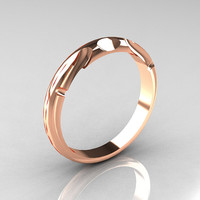 Modern Antique 14K Pink Gold Designer Solitaire Flush Matching Band for R122-14PGAQ