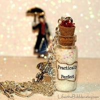 Practically Perfect Mary Poppins Magical Necklace with an Umbrella Charm Disney Inspired by Life is the Bubbles