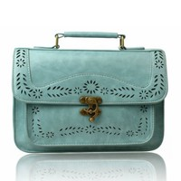 Vintage Preppy Hollow Out Flowers Hardware Flap Messenger Bag Handbag