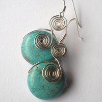 Silver Wire Spiral Turquoise Dangle Earrings