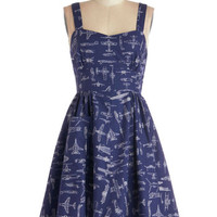 On a Barrel Roll Dress in Navy