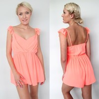 NEON PEACH CORAL FAIRY GRECIAN RUFFLE SHOULDERS PLAYSUIT JUMPSUIT 6 8 10 12