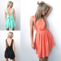 [SALE] MINT BLACK ORANGE DRAPE GRECIAN WATERFALL CASCADING BACKLESS DRESS S M